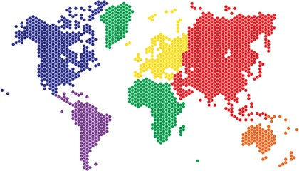 Hexagon shape world map in various colors by continent.