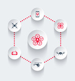 Drones, copters round trendy icons, vector illustration poster