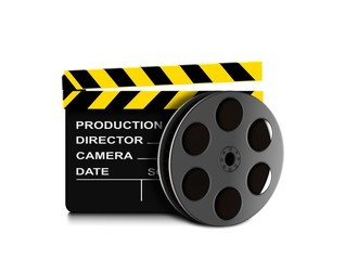 Film reel and clapper board icon