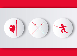 Fencing logos with fencer, mask, crossed foils in red