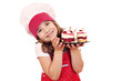 little girl cook with sweet raspberry cake - 81283758