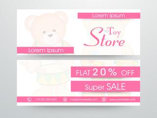 Website header or banner set of Super Sale for Toy Store.