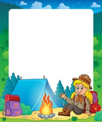 Summer frame with scout girl theme 1