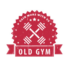 gain more with us, old gym grunge sign with crossed barbells