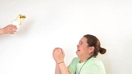 Corpulent woman having addiction to unhealthy food