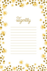Cute notepad with stars and dots in gold. Vector design.