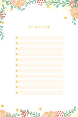 Notepad To Do List with pastel lines, flowers and leaves