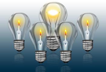 Glühbirnen - Teamwork, Brainstorm, Stärke