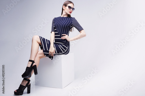 high fashion portrait of young elegant woman. Studio shot - 81285580