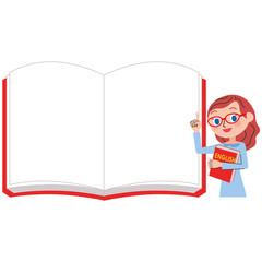 英語の女性先生とホワイトノート