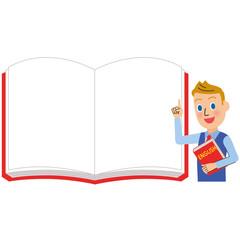 英語の男性先生とホワイトノート