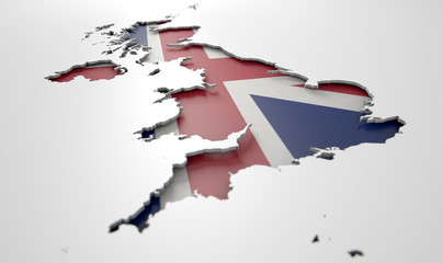 Recessed Country Map Britain © alswart