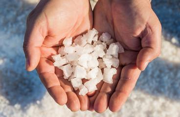 Sea salt, salt production,Sicily,Italy.