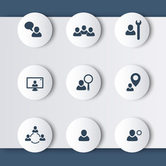 team, personal, employee, customers, interaction modern icons