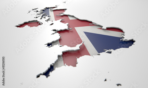 Leinwandbild Motiv Recessed Country Map Britain
