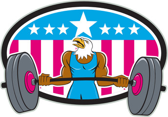 Bald Eagle Weightlifter Barbell USA Flag Oval