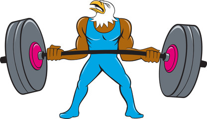 Bald Eagle Weightlifter Lifting Barbell Cartoon