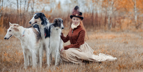Portrait of LadyXIX Century  with russian borzoy dogs
