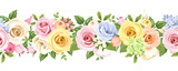 Fototapety Horizontal seamless background with colorful flowers. Vector.