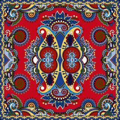 red ornamental floral paisley bandanna