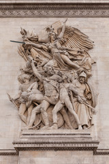 Details of Sculptures on Arch of Triumph, Paris France