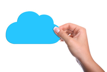 hands holding paper clouds on white  background. Cloud computing