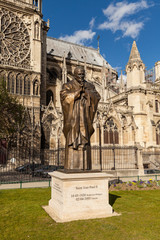 Saint Jean-Paul II Bronze Statue at Notre Dame, Paris France