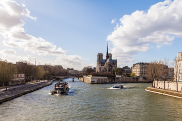Boats on the River Seine in Paris France