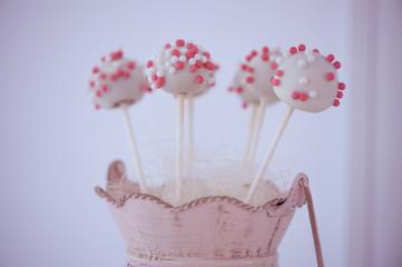 Cake pops on vase