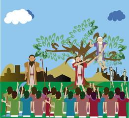 Luke 19:1-10.  Zacchaeus climbed a tree because he was too short