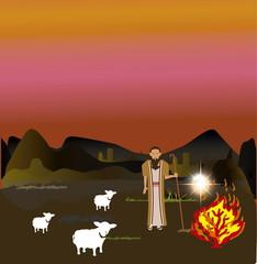 Moses and the Burning Bush ,Exodus 3:2-4