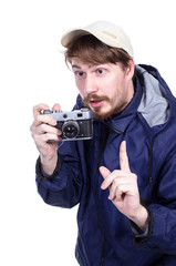Photographer on a white background