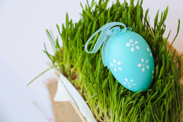 Easter holiday decoration with  egg and grass