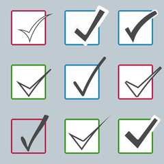 Vector confirm icons set. Yes icon. Check Mark icon.  Checkboxes