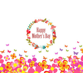 mothers day with flower and butterflies colorful