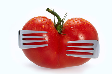 Tomato embraced by two forks.