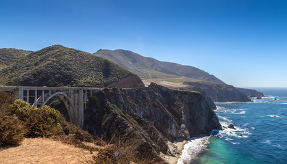 The Big Sur and its rocky coastline in USA, California
