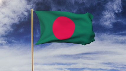 Bangladesh flag with cloud waving in the wind. Green screen