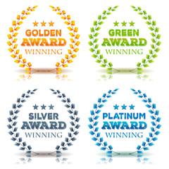 Awards Winning And Laurel Leaves Set