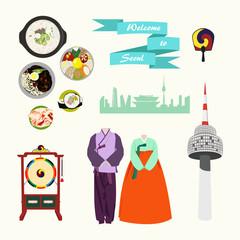 Korean traditional elements vector set