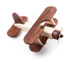 Wooden airplane model from above view isolated