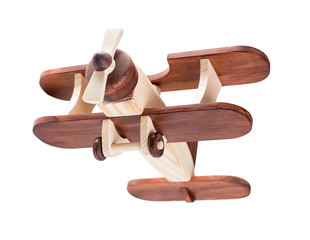 Wooden airplane isolated with clipping path included