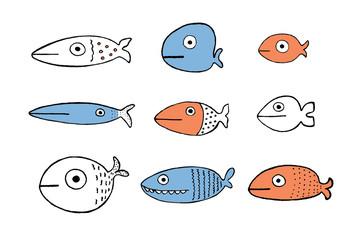 Fish set, vector illustration