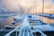 Leinwanddruck Bild - Winter view of a marina in Trondheim