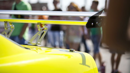 Spoiler Of Yellow Sportive Car