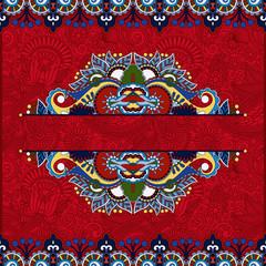floral red invitation card, vintage paisley frame design