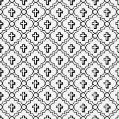 Black and White Cross Symbol Tile Pattern Repeat Background