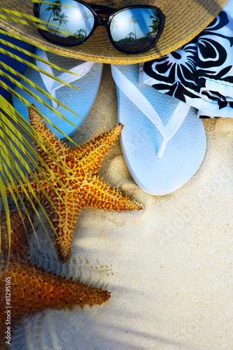 art beach accessories on a deserted tropical beach