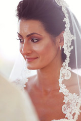 Portrait of a bride smiling