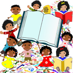 Cheerful African children with a large book on a white backgroun